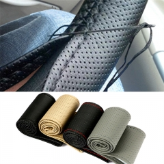 Car Steering Wheel Cover With Needles and Thread Artificial leather Diameter 38cm Auto Car Accessories