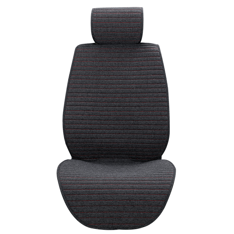 BLACK UNVIERSAL 1+1 SOFT FABRIC FRONT SEAT COVERS FOR CAR VAN BUS TRUCK