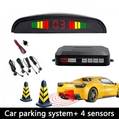 Car Led Parking Sensor Parktronic Display 4 Sensors Reverse Backup Assistance Radar Detector Light Heart Monitor System