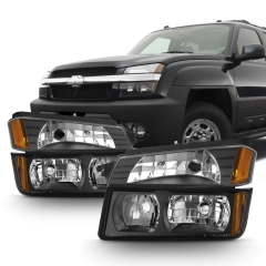 2002 2003 2004 2005 2006 Chevy Avalanche Body Cladding Model Headlights & Bumper Lights Set