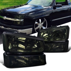 2003-07 Chevy Silverado Avalanche Smoke Headlights+Signal Lamps Bumper Lights Pair