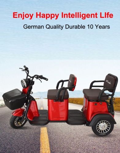 Electric Tricycle 3 Wheel Electric Leisure Scooter Battery Tricycle MODEL 4.0 25km/h ABS electronic brakes